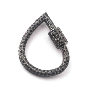 1 Pc Black Spinel Lock- 925 Sterling Silver- Black Spinel Pear Drop Lock with Screw On Mechanism 30mmx22mm GVCB016