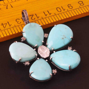 1 Pc Pave Diamond Turquoise With Rose Cut Flower Pendant Over 925 Sterling Silver -Necklace Pendant 66mmx51mm PD1980