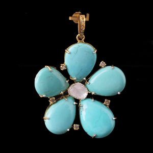 1 Pc Pave Diamond Turquoise With Rose Cut Flower Pendant Over 925 Sterling Silver -Necklace Pendant 46mmx44mm PD1985