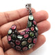 1 Pc Pave Diamond Genuine Multi Tourmaline Designer Pendant - 925 Sterling Silver - Gemstone Necklace Pendant 56mmx24mm PD1889