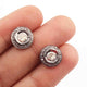 1 Pair Pave Diamond with Rose Cut Diamond Round Stud Earring - 925 Sterling Silver - Polki Stud Earrings 11mm ED318