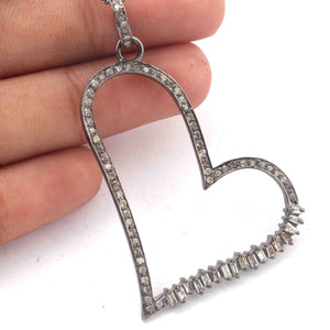 1 Pc Antique Finish Pave Diamond With Baguette Diamond Designer Heart Pendant - 925 Sterling Silver- Love Necklace Pendant 48mmx45mm PD1801