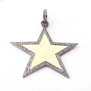 1 Pc Pave Diamond Cream Enamel-Bakelite Star Charm Pendant Over 925 Sterling Silver 33mmx55mm PD1794