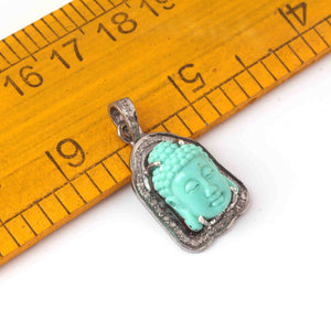 1 Pc Pave Diamond Turquoise Carved Buddha Pendant Over 925 Sterling Silver 24mmx14mm PD1991