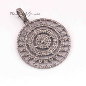 1 Pc Pave Diamond Designer Round 925 Sterling Silver Pendant - Round Pendant 39mmx35mm PD1832
