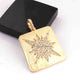 1 PC Genuine Pave Diamond Square Center In Star Pendant Over 925 Sterling Silver / Yellow Gold 33mmx29mm PD1833
