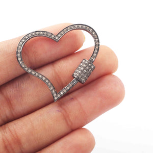1 Pc Pave Diamond Heart Lock- 925 Sterling Silver- Diamond Heart Lock with Screw On Mechanism 28mmx32mm PD1791