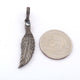 1 PC Pave Diamond 925 Sterling Silver Leaf Charm pendant - Diamond Leaf Pendant 40mmx10mm PD1105