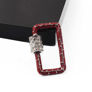 1 Pc Pave Diamond Rectangle Red Enemel Carabiner- 925 Sterling Silver- Diamond Lock with Screw On Mechanism 21mmx14mm CB097