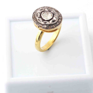 1 Pc Beautiful Pave Diamond - Rose cut Diamond Designer Oval  Ring - 925 Sterling Vermeil - Polki Ring RD104