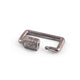 1 Pc Pave Diamond Rectangle Shape Carabiner- 925 Sterling Silver- Diamond Lock with Screw On Mechanism 21mmx14mm CB098