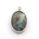 1 Pc Pave Diamond Labradorite With Snake Charm Pendant Over 925 Sterling Silver - Oval Shape Pendant 35mmx22mm PD1773