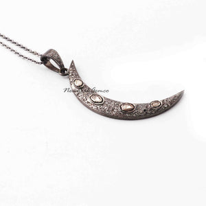 1 Pc Pave Diamond Crescent Moon With Rose Cut Diamond Pendant - 925 Sterling Silver 47mmx7mm PD667