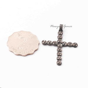 1 Pc Pave Diamond Designer Cross 925 Sterling Silver Pendant - Designer Cross Pendant 39mmx31mm PD683