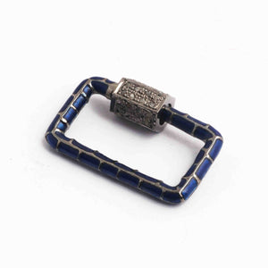 1 Pc Pave Diamond  Rectangle Blue Enemel Carabiner- 925 Sterling Silver- Diamond Lock with Screw On Mechanism 21mmx14mm CB067