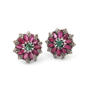 1 Pair Antique Finish Pave  Diamond Ruby Center in Emerald Designer Stud Earrings with Back Stopper - 925 Sterling Silver - 15mm ED494