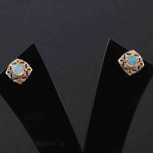 1 Pair Antique Finish Pave Diamond Center in Ethiopian Opal Designer Stud Earrings with Back Stopper - 925 Sterling Vermeil - 12mm ED488