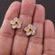 1 Pair Antique Finish Pave Diamond Center in Ruby Designer Flower Stud Earrings Back Stoper - 925 Sterling Vermeil - 12mm ED491