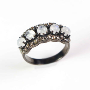 1 PC Antique Pave Diamond Rainbow Moonstone Band Ring - 925 Sterling Silver - Diamond Band Ring Size-8 RD422
