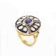 1 Pc Pave Diamond With Rosecut Diamond Blue Sapphire Designer Ring - 925 Silver Vermeil - Polki Ring Size: 8 RD509