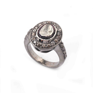 1 Pc Pave Diamond With Rosecut Diamond Designer Oval Shape Ring - Oxidized Silver  - Polki Ring Size :7.5 RD504