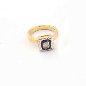 1 Pc  Rosecut Diamond Designer Square Shape Ring - 925 Sterling Vermeil - Polki Ring Rd486