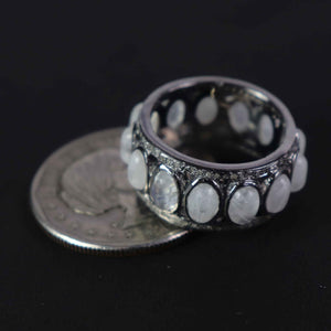 1 PC Antique Pave Diamond Rainbow Moonstone Band Ring - 925 Sterling Silver - Diamond Band Ring Size-7.5 RD428