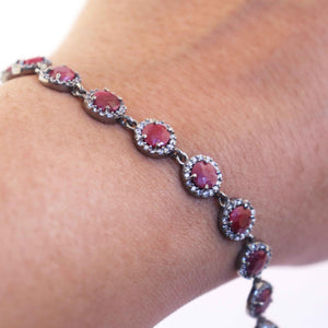 1 Pc Ruby With Rhine Stone Designer Round Bracelet - 925 Sterling Silver -   CZ Bracelet With Lock - Bracelet Size: 8.5 Inches BD333