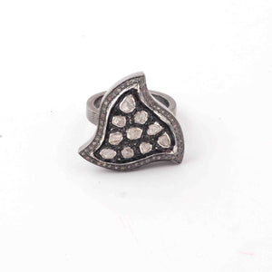 1 Pc  Pave Diamond With Rosecut Diamond Designer Shape Ring - Oxidized Silver  - Polki Ring-Size: 8  Rd512