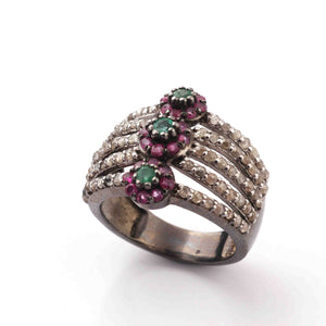 1 PC Beautiful Pave Diamond With Ruby, Emerald Ring - 925 sterling silver- Diamond Ring-Size:7.5 SJRD055