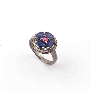 1 PC Beautiful Pave Diamond With Kaynite, Ruby Ring - 925 sterling silver- Diamond Ring-Size:7.5 SJRD054