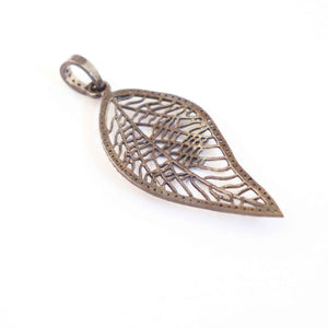1 Pc Pave Diamond Leaf 925 Sterling Silver Pendant-- Designer Leaf Pendant 55mmx23mm PD365