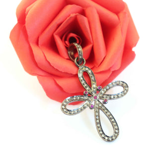 1 Pc Antique Finish Pave Diamond Flower Cross Pendant - 925 Sterling Silver- Necklace Pendant 42mmx33mm PD372