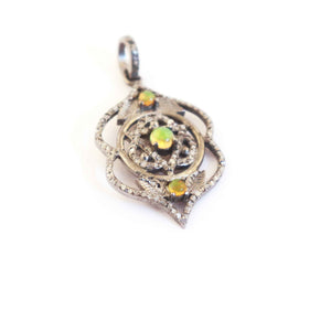 1 Pc Antique Finish Pave Diamond with Ethiopian Opal Designer Pendant - 925 Sterling Silver- Necklace Pendant 35mmx21mm PD358