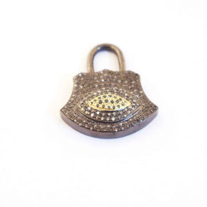 1 PC Genuine Pave Diamond Lock Charm 925 Sterling Silver Pendant 33mmx28mm PD324