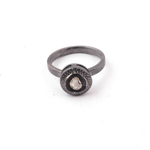 1 Pc  Rosecut Diamond Designer Round Shape Ring - Oxidized Silver  - Polki Ring Rd500