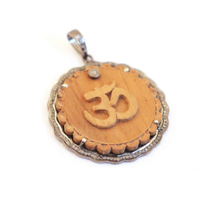 1 Pc Pave Diamond Natural Wood Elephant, Star ,Sun, OM Over 925 Sterling Silver Pendant PD306