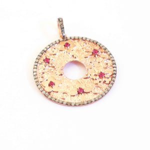 1 Pc Antique Finish Pave Diamond Round Designer Pendant -Rose Gold Vermeil -Necklace Pendant 37mmx34mm PD767