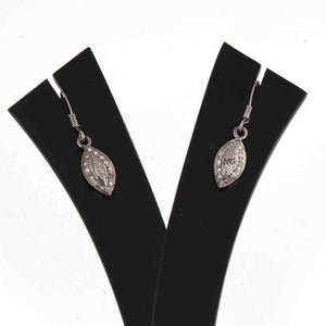 1 Pair Antique Finish Pave Diamond  Leaf Earrings - 925 Sterling Silver - 17mmx7mm-16mmx7mm ED581