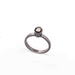 1 Pc  Rosecut Diamond Designer Round Shape Ring - Oxidized Silver  - Polki Ring Rd498