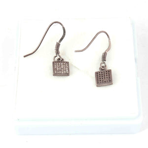 1 Pair Antique Finish Pave Diamond  Square Shape  Earrings - 925 Sterling Silver- 9mmx6mm-16mmx7mm ED570