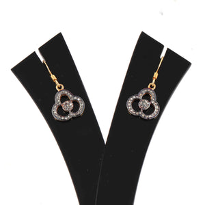 1 Pair Antique Finish Pave Diamond Flower Charm Earrings - 925 Sterling Vermeil - 16mmx13mm-16mmx7mm ED547