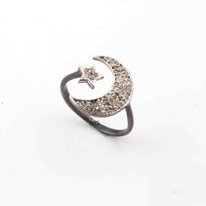 1 PC Antique Finish Pave Diamond Moon & Star Designer Ring - 925 Sterling Silver - Diamond Ring Size-7.5 SJRD084