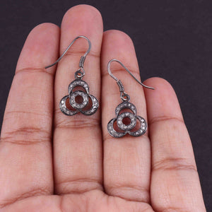 1 Pair Antique Finish Pave Diamond Flower Charm Earrings - 925 Sterling Silver - 16mmx14mm-16mmx7mm ED544