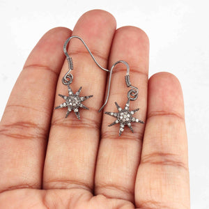 1 Pair Antique Finish Pave Diamond Sun Star Earrings - 925 Sterling Silver - 17mmx14mm-15mmx7mm ED529
