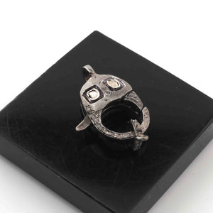 "1 PC Rosecut Diamond & Pave Diamond"" Lobster Over Sterling Silver With Ring- 23mmx12mm LB286"