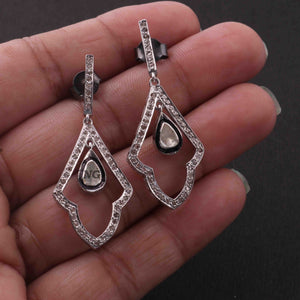 1 Pair Pave Diamond With Rose Cut Diamond Earrings - 925 Sterling Silver - Polki Earrings 30mmx17mm-15mmx2mm ED518
