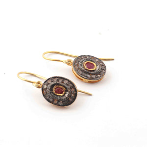 1 Pair Antique Finish Pave Diamond with Ruby Hoop Earrings - 925 Sterling Vermeil - Polki Earrings 17mmx11mm ED594