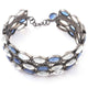 1 Pc Pave Diamond 925 Sterling Silver Bracelet with Tanzenite & Rainbow Moonstone  -- Designer Bracelet Size : 2.25 BD097