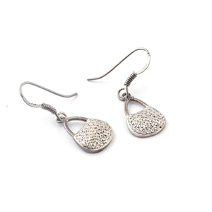 1 Pair Antique Finish Pave Diamond Designer Purse Charm Earrings - 925 Sterling Silver - 16mmx11mm-16mmx7mm ED536